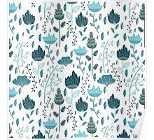 Frozen Flowers Pattern Poster