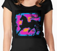 Colorful Prancing High-stepping Horse Silhouette Women's Fitted Scoop T-Shirt