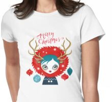 Xmas Deer Girl Womens Fitted T-Shirt