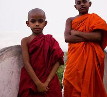 Two little monks by Mili Wijeratne