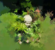 Abstract of Buddha and his flowers by hilarydougill