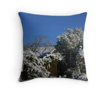 Blue Sky and snow .... in England......are you sure? Throw Pillow