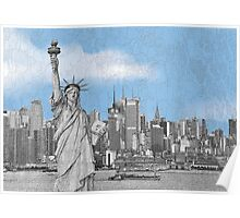 Statue of Liberty New York City New York Skyline Poster