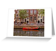 rode boot en oude dame Greeting Card