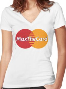 Mastercard Logo Spoof - Max The Card ! Women's Fitted V-Neck T-Shirt