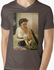 Dickens Fair Corset Model Mens V-Neck T-Shirt