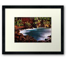 Red Sand Beach Cove Framed Print