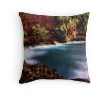 Red Sand Beach Cove Throw Pillow