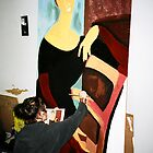 Michelle painting Modiglianni by students