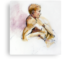 Male nude, portrait in ink and wash Canvas Print