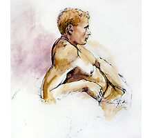 Male nude, portrait in ink and wash Photographic Print