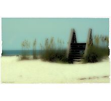 Poloroid Transfer Beach Scene Photographic Print