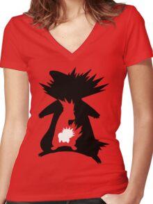 Cyndaquil Evolution T-Shirt Women's Fitted V-Neck T-Shirt