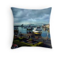One Fine Day at the Harbor Throw Pillow