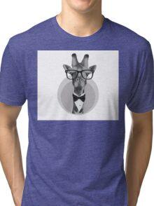 Hipster Giraffe Tri-blend T-Shirt