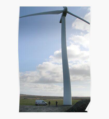Wind turbine with van. Poster