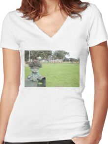 Bronze Toy Doll Women's Fitted V-Neck T-Shirt