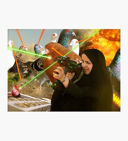 The Hijabi Heroines take on the Intergalactic dOve Invaders Photographic Print
