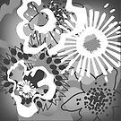 Grey Shades Floral Graphic Cushion Version 1 (see description) by Ra12