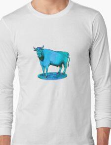 Blue bull graphic design Long Sleeve T-Shirt