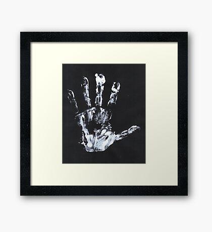 Palm print black & white Framed Print