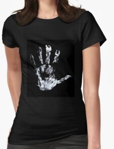 Palm print black & white Womens Fitted T-Shirt