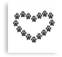 Paw Prints Heart Canvas Print