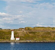 White Lighthouse on Green and Blue by dbvirago
