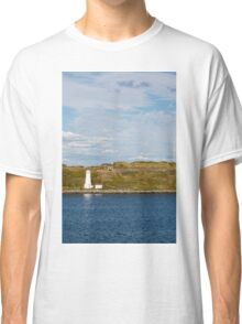 White Lighthouse on Green and Blue Classic T-Shirt