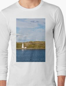 White Lighthouse on Green and Blue Long Sleeve T-Shirt