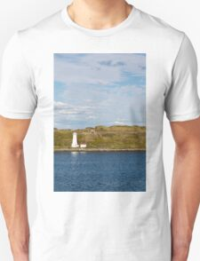 White Lighthouse on Green and Blue T-Shirt