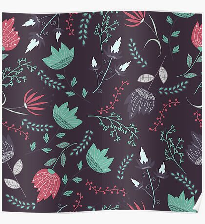 Fantasy flowers pattern Poster