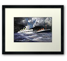 RMS Titanic and her sister the HMHS Britannic Framed Print