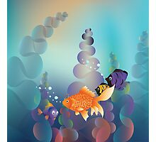 Abstract cartoon colorful underwater background with gold fish Photographic Print