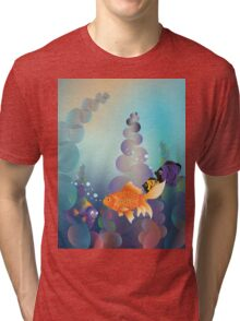 Abstract cartoon colorful underwater background with gold fish Tri-blend T-Shirt