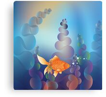 Abstract cartoon colorful underwater background with gold fish 2 Canvas Print