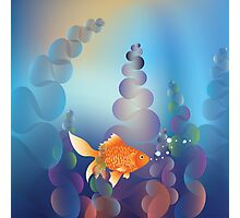 Abstract cartoon colorful underwater background with gold fish 2 Photographic Print