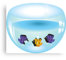 Cartoon colorful fishes swimming in the water in a fishbowl Canvas Print