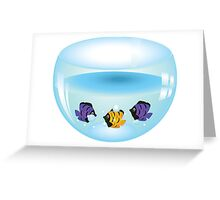 Cartoon colorful fishes swimming in the water in a fishbowl Greeting Card