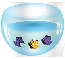 Cartoon colorful fishes swimming in the water in a fishbowl Poster