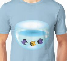 Cartoon colorful fishes swimming in the water in a fishbowl Unisex T-Shirt