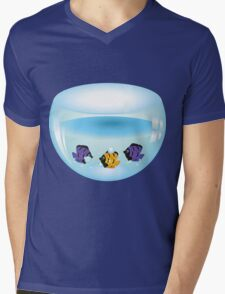 Cartoon colorful fishes swimming in the water in a fishbowl Mens V-Neck T-Shirt