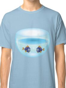 Cartoon colorful fishes swimming in the water in a fishbowl 2 Classic T-Shirt