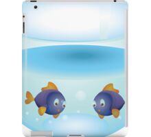 Cartoon colorful fishes swimming in the water in a fishbowl 2 iPad Case/Skin