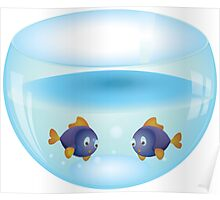 Cartoon colorful fishes swimming in the water in a fishbowl 2 Poster