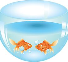 Gold fish swimming in the water in a fishbowl by AnnArtshock