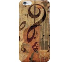 Grunge rose, violin and music notes iPhone Case/Skin