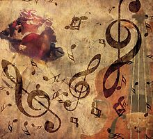 Grunge rose, violin and music notes by AnnArtshock