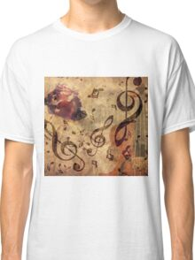 Grunge rose, violin and music notes Classic T-Shirt