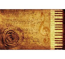 Grunge rose, piano and music notes Photographic Print